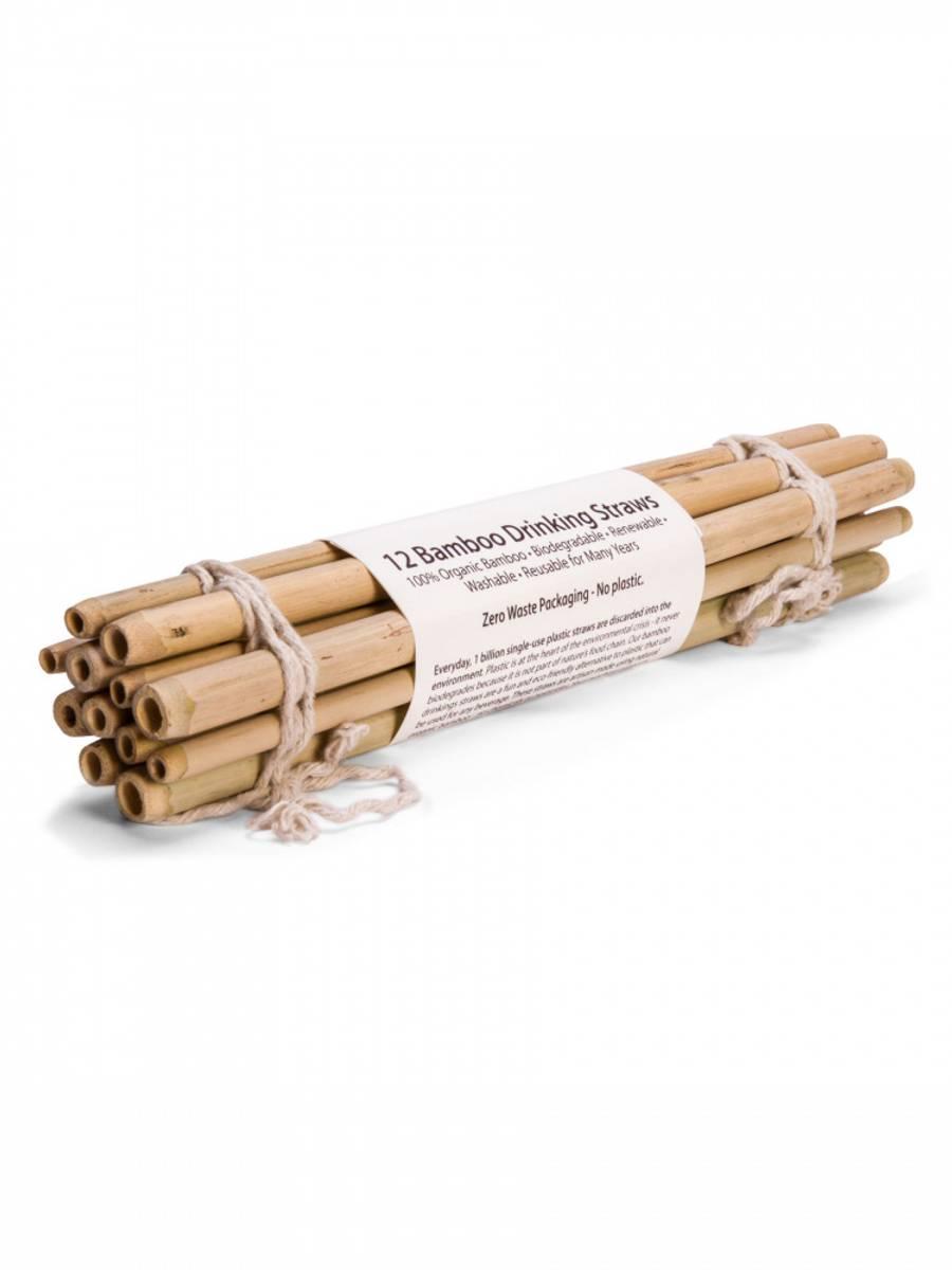 12-pk bambussugerør i økologisk bambus