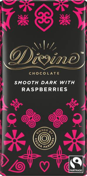 Bilde av Mørk sjokolade med bringebær 70%, 90g / Divine