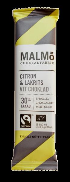 Bilde av Mini Sitron & Lakris 28% 25 g - økologisk sjokolade fra Malmö C