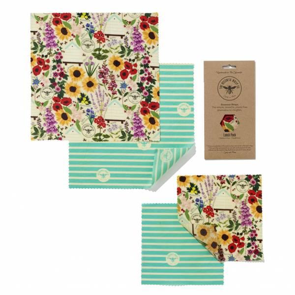 Bilde av 4-pk bivoksark Lunch Pack // Floral / The Beeswax Wrap Company