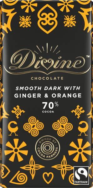 Bilde av Mørk sjokolade med ingefær & appelsin 70%, 90g / Divine