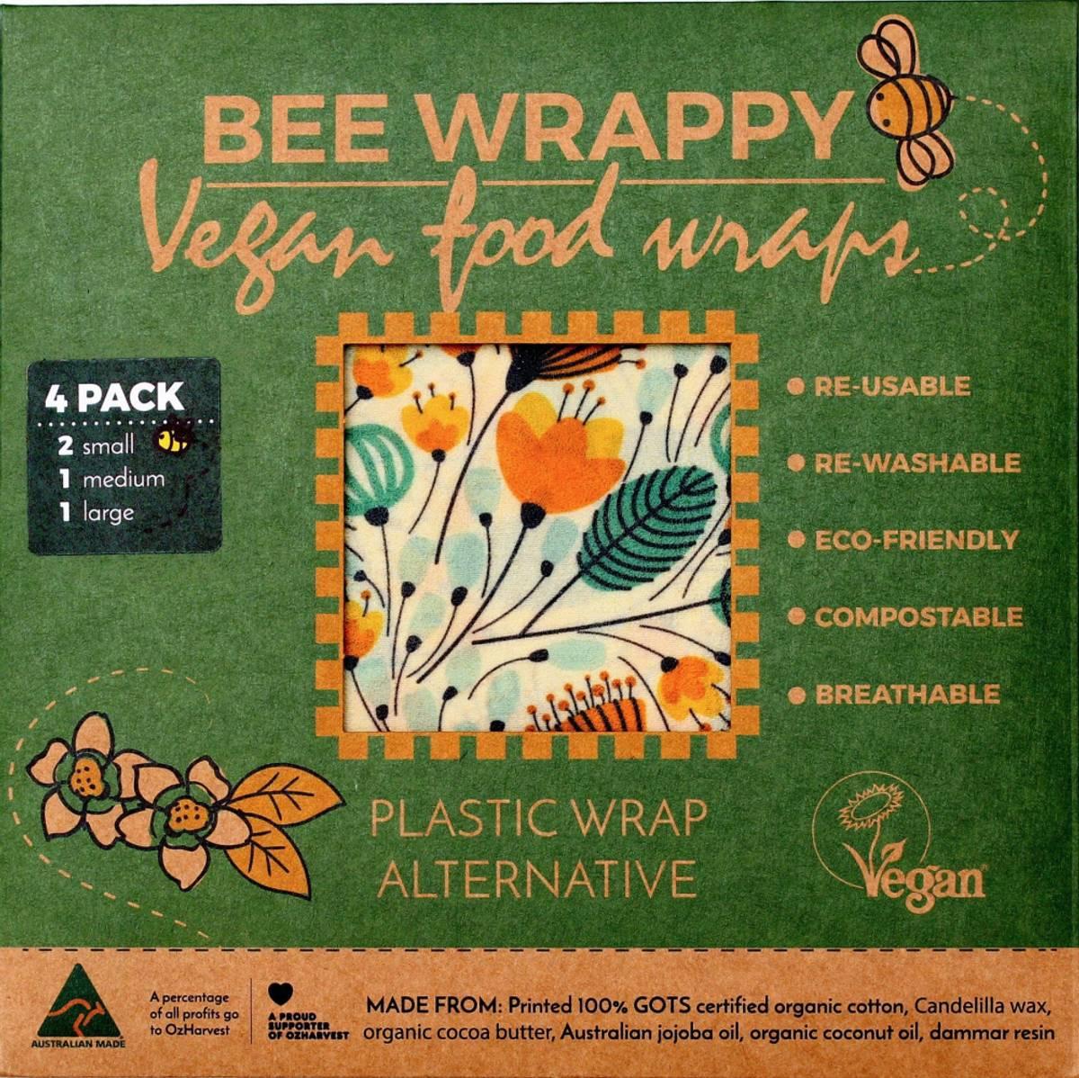 4-pk veganske voksark Bee Wrappy