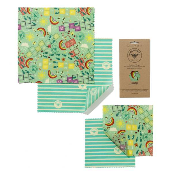 Bilde av 4-pk Lunch Pack bivoksark // KIDS / The Beeswax Wrap Company