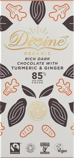 Bilde av 85% mørk sjokolade med gurkemeje & ingefær 80g / Divine