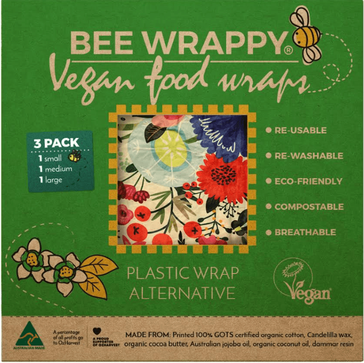 3-pk veganske voksark Bee Wrappy