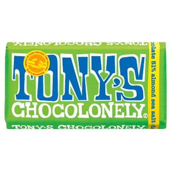 Bilde av Mandel & havsalt mørk sjokolade 180g, Fair Trade / Tony
