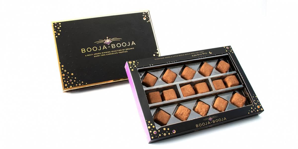 Gaveeske med veganske sjokoladetrøfler 184g / Booja Booja