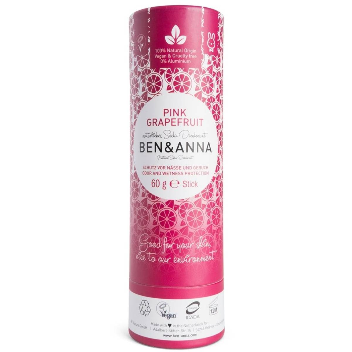Deodorantstift 60g / Pink Grapefruit / Ben & Anna
