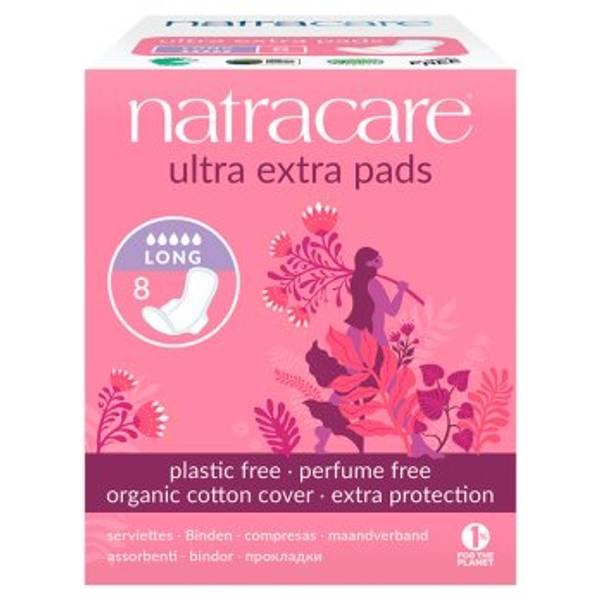 Bilde av 8 stk LANG ultra extra pads, økologiske bind / Natracare