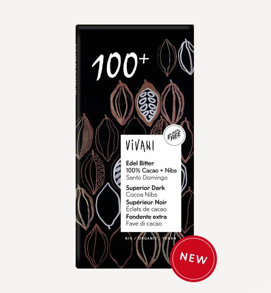 Bilde av 100% mørk sjokolade med kakaonibs, 80g / Vivani