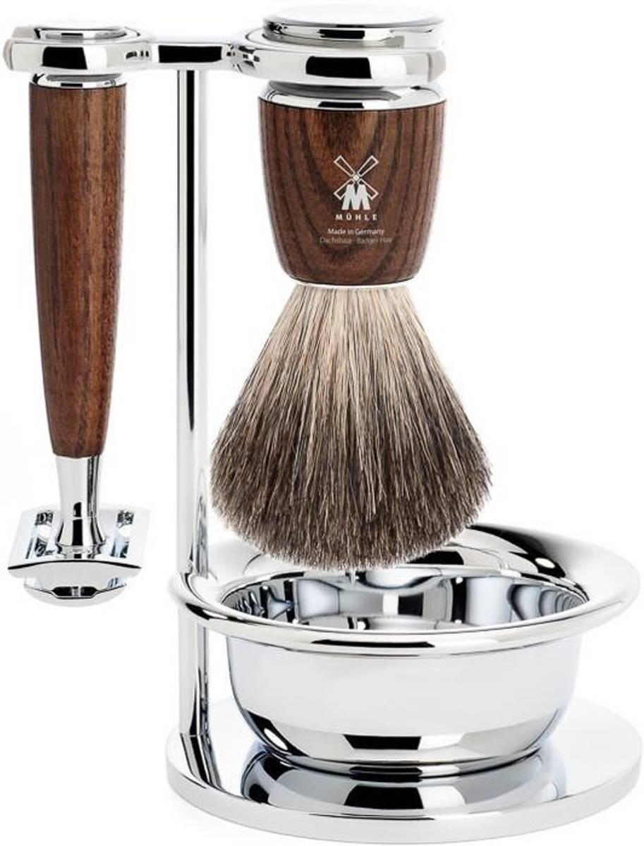 Barbersett 4 deler - Rytmo ASK, Pure Badger / Mühle