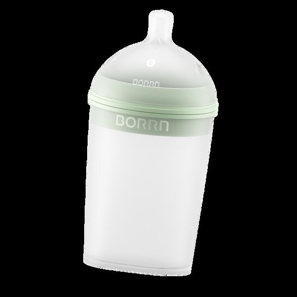 Bilde av Tåteflaske i silikon 240ml, GRØNN / BORRN