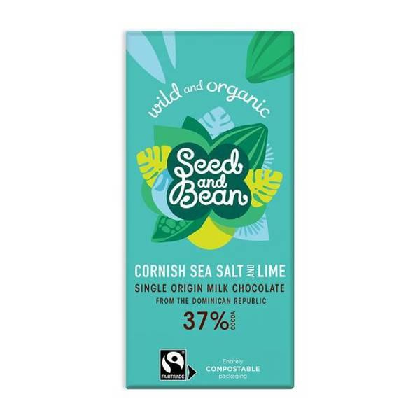 Bilde av Cornish Sea Salt & Lime 85g, melkesjokolade / Seed & Bean