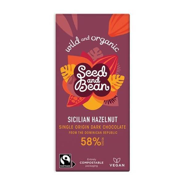 Bilde av Sicilian Hazelnut, 58%, vegansk sjokolade 85g / Seed & Bean