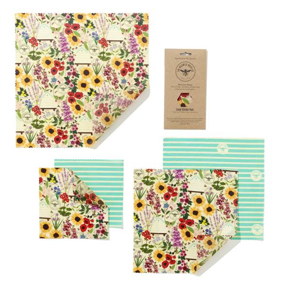 Bilde av 5-pk bivoksark Large kitchen pack // Floral / The Beeswax Wrap C
