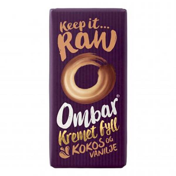 Bilde av Kremet kokosfyll & vanilje 35 g rå og økologisk sjokolade / Omba