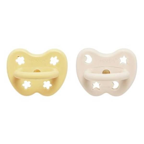 Bilde av 2-pk Ortodontisk smokk 3-36 mnd, Pale Butter&Milky White / Hevea