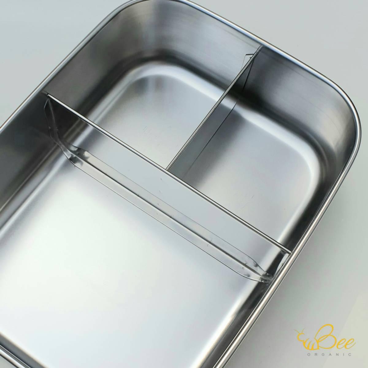 1800 ml matboks i stål med tre rom / BeeOrganic