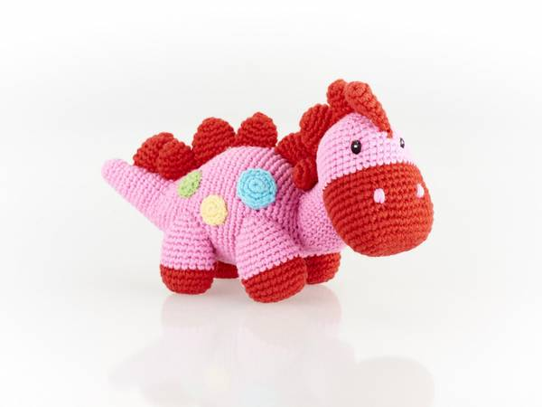 Bilde av Heklet babydinosaur rangle Pink / Fairtrade