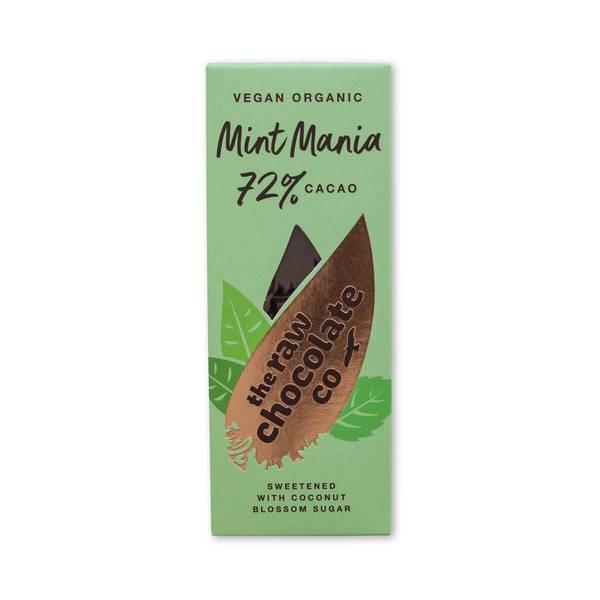 Bilde av Vegansk sjokolade Mint Mania 72% cocoa, 38g / The Raw Chocola