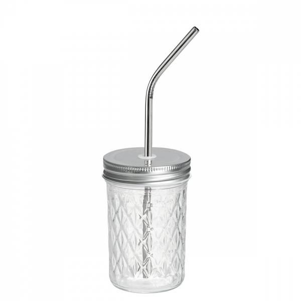 Bilde av 2 dl Smoothieglass med lokk og sugerør / Beeorganic