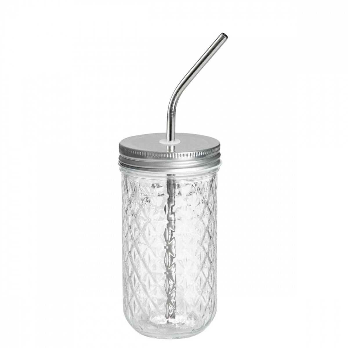 3 dl Smoothieglass med lokk og sugerør / Beeorganic