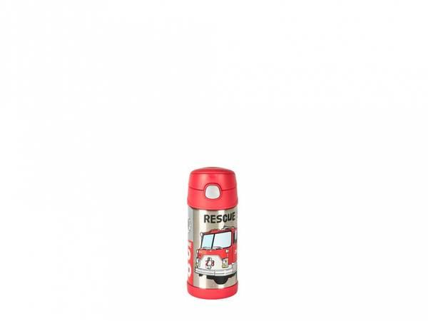 Bilde av Termoflaske til barn med sugerør 355ml, Brannbil / Thermos