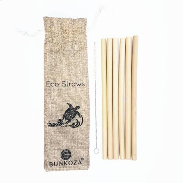Bilde av 6-pk bambussugerør med nylonbørste / Bunkoza