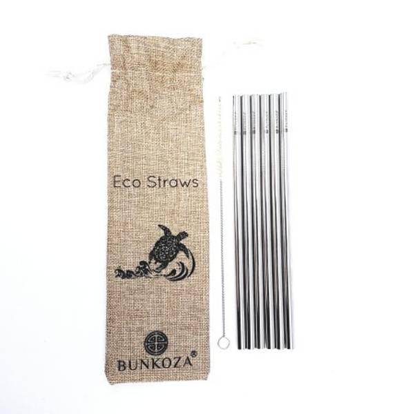 Bilde av 6-pk sugerør i stål til smoothie + sisalbørste / Bunkoza