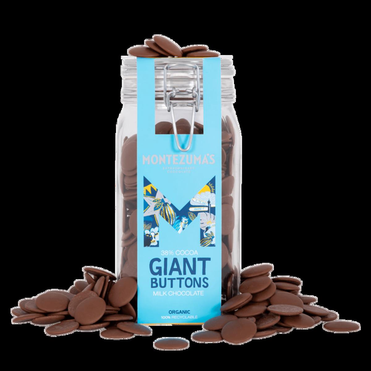 Giant Buttons 38% kakao, 900g- melkesjokoladebiter på glass / Mo