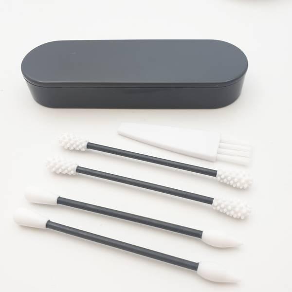 Bilde av 4 stk gjenbrukbare q-tips i silikon, Grått sett / Beeorganic
