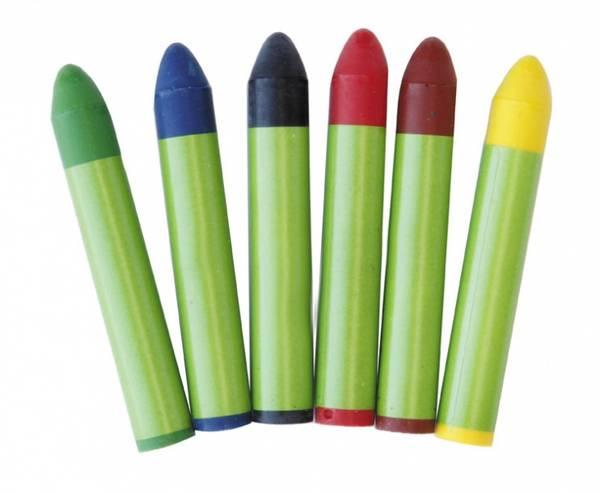 Bilde av 6 stk fettstifter/fargestifter, miljøvennlige og plantebaserte
