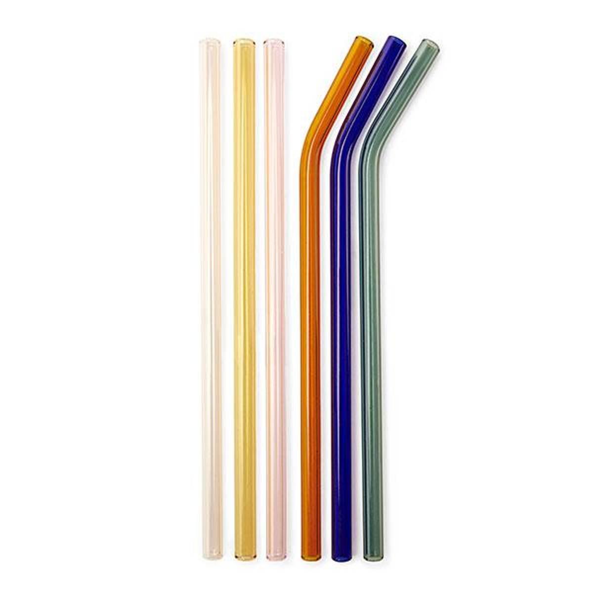 6-pk fargede sugerør i glass // 3 bøyde + 3 rette