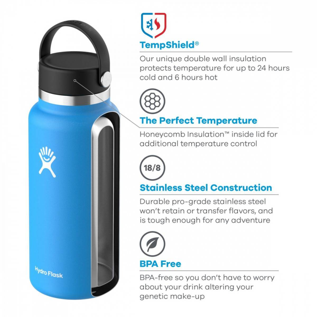 Termoflaske 591ml, BLACK , Wide Mouth Flex Cap / Hydro Flask