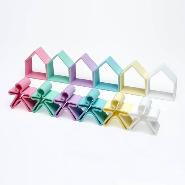 Bilde av Hus og figurer, pastell - leker i silikon / Dëna Toys