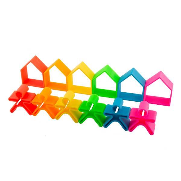 Bilde av Hus og figurer, Klare farger- leker i silikon / Dëna Toys