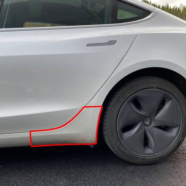 Tesla Model 3 2018-> Beskyttelsesfolie Hjulbuer 2 stk. Bak