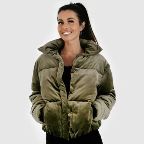 Bilde av Velvet puff jacket - olive