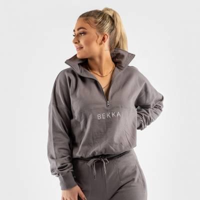 Bilde av Highschool zip sweater - gray
