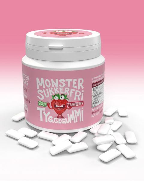 Bilde av Monster Sukkerfri Tyggegummi 84g- Mint/Jordbær