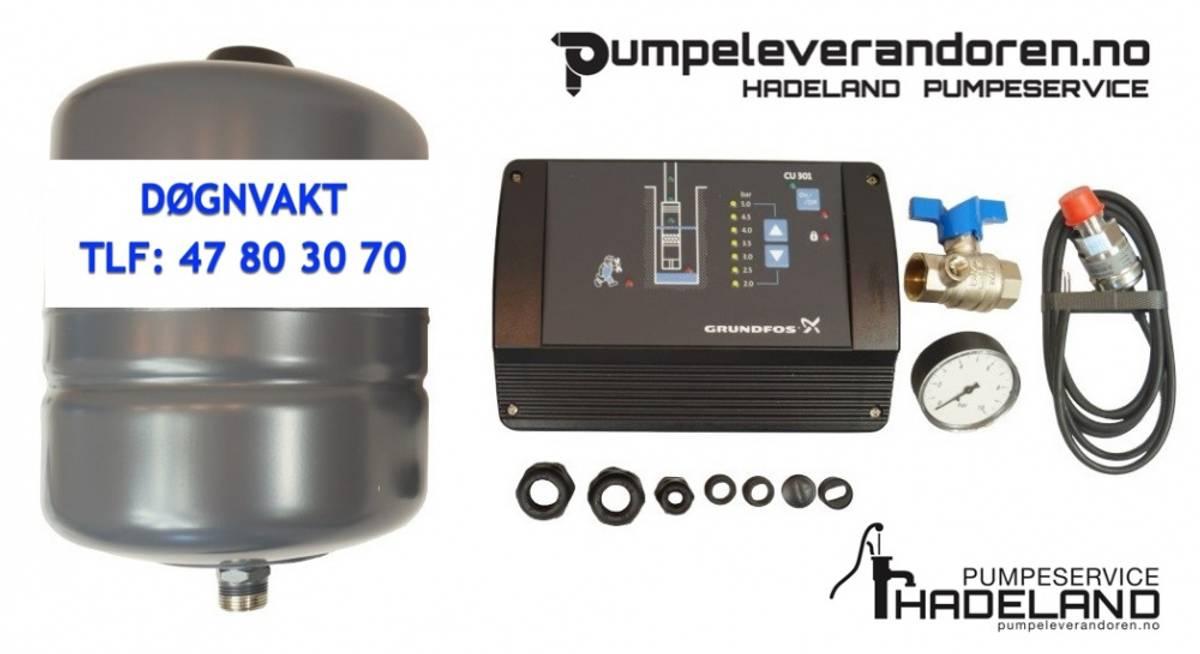 Grundfos CU 301 med sensor og trykktank