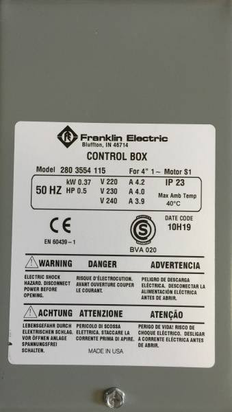 Control box 0,37kW Grå box kondensator franklin