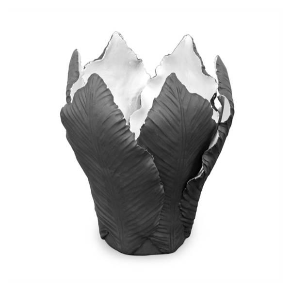 Lysestake Tulip Stor - Sort og sølv
