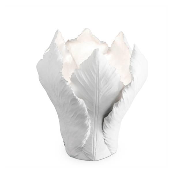 Lysestake Tulip Stor - Hvit og sølv