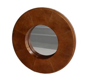 Bilde av Rundt speil med skinnkant