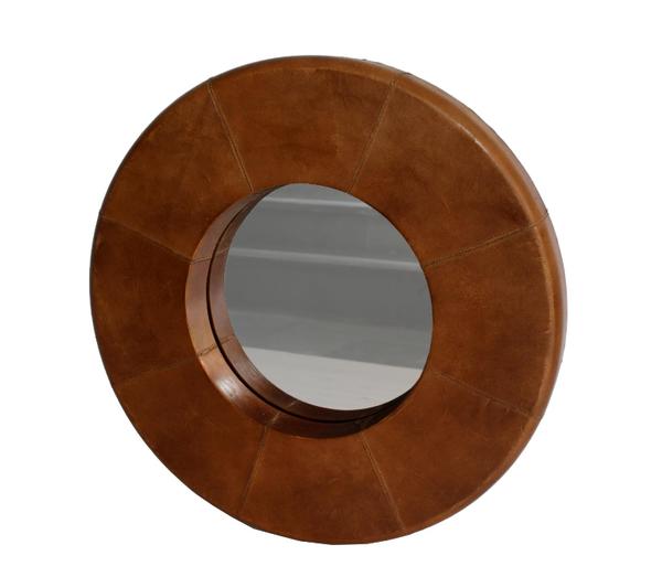 Rundt speil med skinnkant