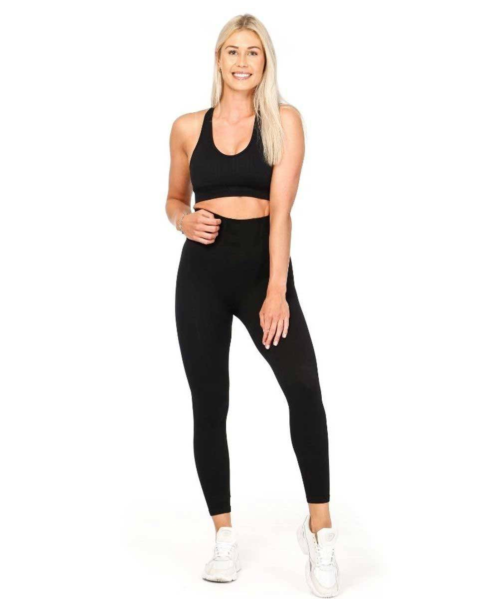 We Are Fit Black 7/8 Tights Ribbed Seamless