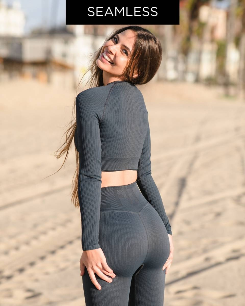 We Are Fit Navy Top Ribbed Seamless Crop Longsleeve