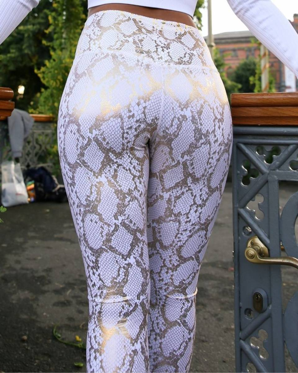 We Are Fit White Snake Tights Spandex