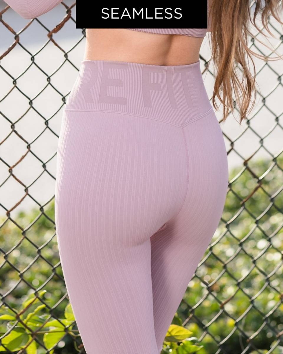 We Are Fit Rose Tights Ribbed Seamless